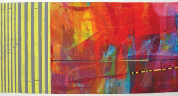 """Heat Wave"" by Elizabeth Busch. 26""x70,"" fabric painted with Textile Paints, machine pieced and hand quilted."